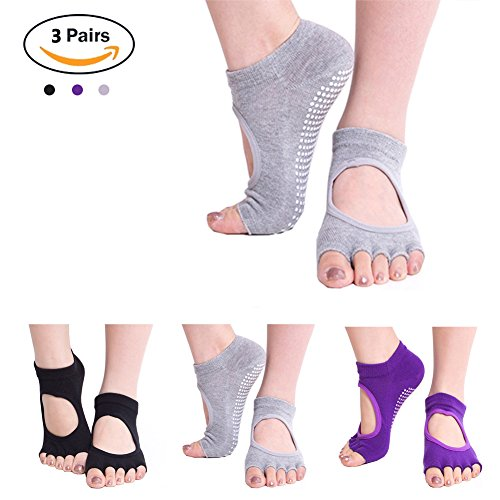 Yoga Barre Socks Toeless - Womens Cotton Socks with Grip & Non Slip Toeless Half Toe Socks for Ballet, Pilates, Barre