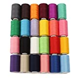 KINGSO 24 Assorted Colors Polyester Sewing Thread Spool 1000 Yards Each