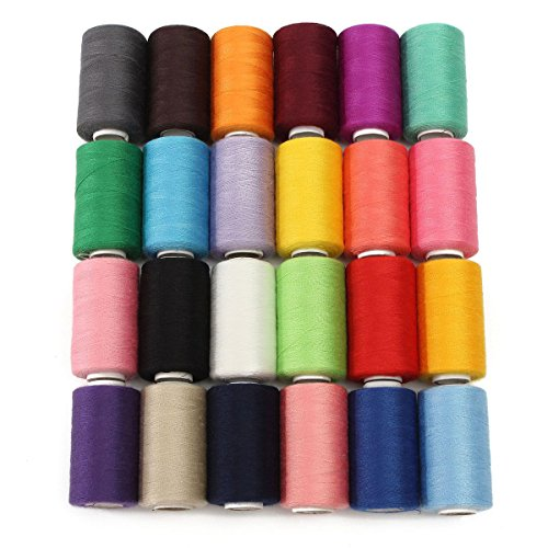 kingso-24-assorted-colors-polyester-sewing-thread-spool-1000-yards-each