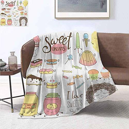 smllmoonDecor Sweet Dreams Warm Microfiber All Season Blanket Teen Girl Dreaming About Sweets Food Doodle Characters Kawaii Cartoon Faces Print Artwork Image 62