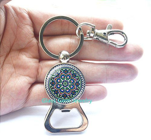Buddhism OM Symbol India Mandala Flower Black Bottle Opener Keychain Zen Picture Glass Cabochon Bottle Opener Choker Glass Bottle Opener Keychain For Women,Q0219