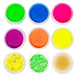 Neon Pigment Eyeshadow Powder with Eye Shadow Base, MSJiA 8 Mixed Bright Matter Colors UV Glow Blacklight Luminous Pigments Fluorescent Glitter Mica Dye Colorant Makeup Kit