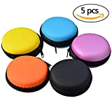 5pcs Earphone Carrying Case, Jmkcoz Round Shape Carrying Hard EVA Case Storage Bag for Earbuds Earphone Headset,USB Cable, Bluetooth or Wired Headset Earphone Mini Storage Random Color
