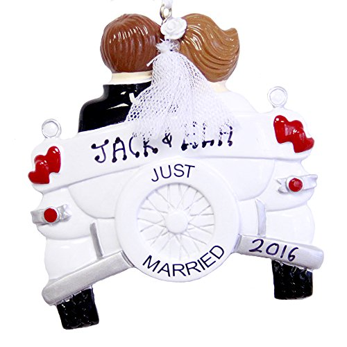 Personalized christmas ornaments amazon just married personalized christmas ornament vintage wedding car negle Gallery
