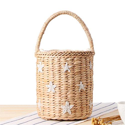 03 Holiday Summer Woven MANFDGABNGS Bucket Tote Women Cylindrical Japan ST027 Bag Wheat Handbag Style Barrel Round Straw Bags Straw 66SUZfWvr