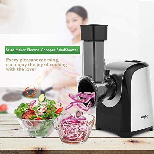 Korie Automatic Salad Maker Machine, Professional Electric Slicer Shredder, with One-Touch Control and 4 Free Attachments for fruits, vegetables, and cheeses