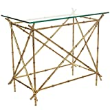 Safavieh Home Collection Mark Clear Glass and Gold Accent Table