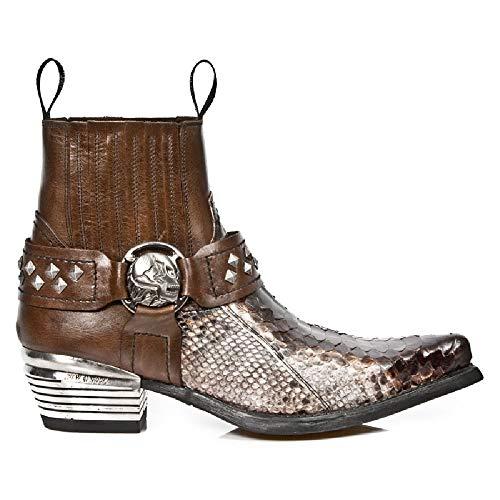 Marrone Stivali Western Uomo M New Pelle Urbano Cowboy Serpente S5 Rock Tacco 7995PT Stivaletti qBC6a
