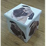 Pug Dog Face Folding Ottoman Cube Storage Box Faux Leather Padded Seat 36x36x36cm by Life Is Good