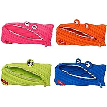 ZIPIT Monster Pencil Case, 4-Pack (Pink, Orange, Lime, Blue)