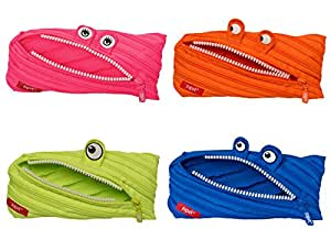 ZIPIT Monster Pencil Case, 4-Pack (Pink, Orange, Lime, Blue)