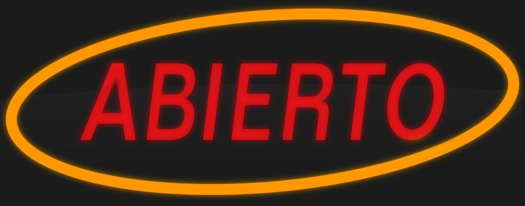 ComeAlong Industries Red and Yellow Heavy Duty LED ''ABIERTO'' Sign, 40-Inch Wide x 16-Inch High