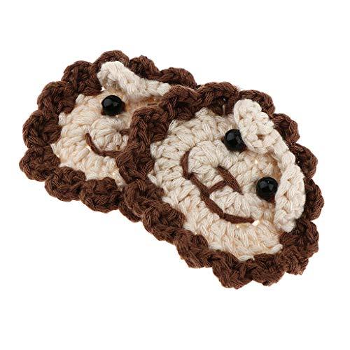 2pcs Cute Cartoon Lion Head Crochet Applique Sew On Applique Patch for Dolls