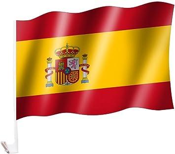 Sportfanshop24 2 Unidades/1 par Auto Bandera/Bandera España con Escudo/Spain with Emblema/España – Bandera/Bandera para Coche 2 x – Car Flag - Amazon.es