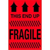 Tape Logic TLDL1325 Labels,This End Up - Fragile, 2'' x 3'', Fluorescent Red, 1 Roll of 500 Labels