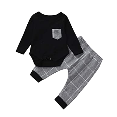 14142e7676 Amazon.com: 2Pcs Baby Boy Girl Long Sleeve Plaid Tops Romper Pocket +Casual  Harem Pants Outfits Set Warm Gift 0-24 Months: Clothing