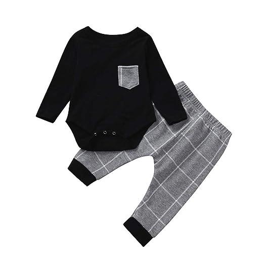 593b0e5557beb 2Pcs Baby Boy Girl Long Sleeve Plaid Tops Romper Pocket +Casual Harem Pants  Outfits Set Warm Gift 0-24 Months