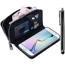 Samsung Galaxy Grand Prime G530 Zipper Wallet Case,Vandot Multi-purpose Luxury PU Leather Cover Purse Bag Flip Folio Magnetic Business Style pattern with Wrist Strap Card Slots+Bling Metal Stylus Pen-Black