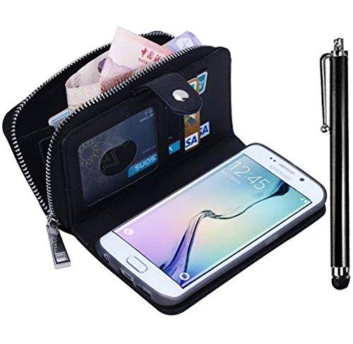 Samsung Galaxy Note 3 N9000 Zipper Wallet Case,Vandot Multi-purpose Luxury PU Leather Cover Purse Bag Flip Folio Magnetic Business Style pattern with Wrist Strap Card Slots+Bling Stylus Pen-Black (Purse Case Note 3)