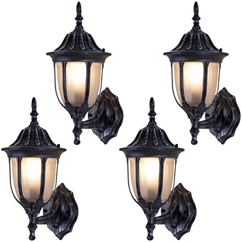 Tangkula Outdoor Lights Fixtures 4 Pack Outdoor Porch Front Door Garage Balcony Weatherproof Wall Sconces Lantern Lighting Exterior Light Fixtures rust traditional