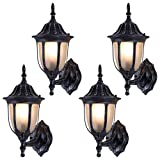 Tangkula Outdoor Lights Fixtures 4 Pack Outdoor Porch Front Door Garage Balcony Weatherproof Exterior Wall Sconces Lantern Lighting (Rust Traditional) Review