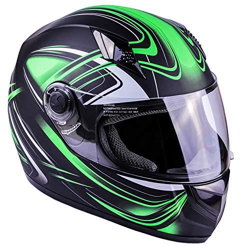 Typhoon K77 Full Face Motorcycle Helmet DOT (Matte Green, Adult ()