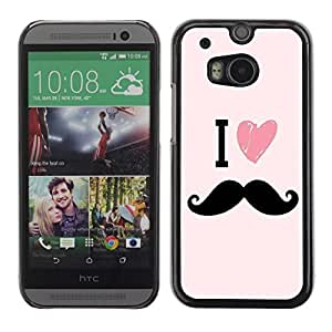 Colorful Printed Hard Protective Back Case Cover Shell Skin for All New HTC One (M8) ( I Love HEART Moustache )