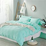 Zhiyuan Solid Color Washed Cotton Duvet Cover Fitted Sheet Pillowcases Set, Queen, Pale Turquoise