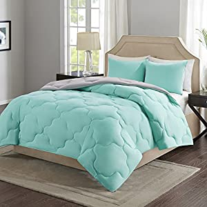 Comfort Spaces – Vixie Reversible Down Alternative Comforter Mini Set - 2 Piece – Aqua and Grey – Stitched Geometrical Pattern – Twin/Twin XL size, includes 1 Comforter, 1 Sham