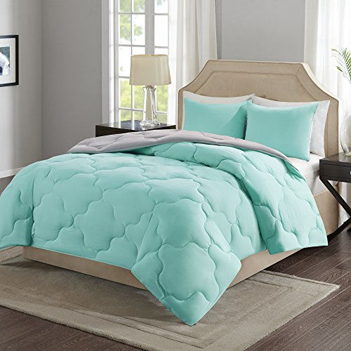 Comfort Spaces – Vixie Reversible Down Alternative Comforter Mini Set - 2 Piece – Aqua and Grey – Stitched Geometrical Pattern – Twin/Twin XL size, includes 1 Comforter, 1 Sham (Bed Set Cheap)