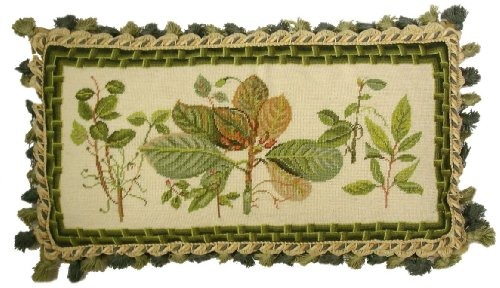 (Deluxe Pillows Autumn Green Study - 10 x 22 in. needlepoint pillow)