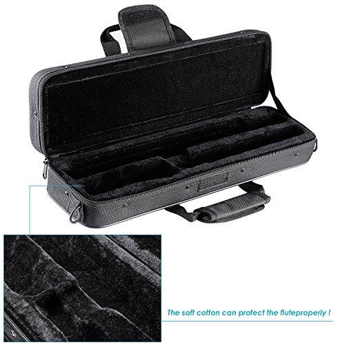 Neewer® Strapazierfähige Wasserabweisende Gig Flöte Tasche mit verstellbaren Single Schultergurt Pocket Baumwolle gepolstert für Konzert Flöte (schwarz)