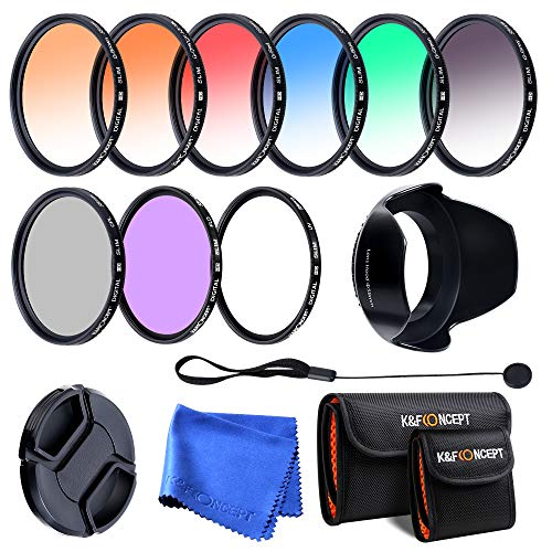 K&F Concept 58mm UV CPL FLD Graduated Filter Lens Accessory 9pcs Filter Kit UV Protector Circular Polarizing Filter + Microfiber Lens Cleaning Cloth + Petal Lens Hood + Filter Bag Pouch