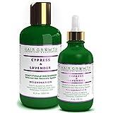 STEPS 1 & 2: Cypress-Lavender Natural Hair Growth Pre-Shampoo Scalp Treatment 4 Oz and Anti-Hair Loss Shampoo 10.2 Oz For Hair Loss and Hair Thinning Prevention