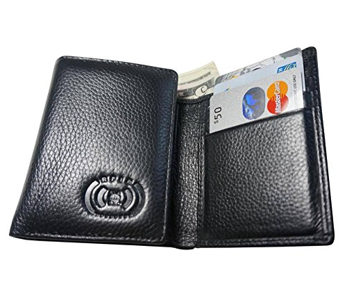 Clip RFID Thin Genuine Card Blocking amp; 1 7 Slots Card Eladeoro Leather Wallet Lightweight Black Safe Credit Mens Trifold Holder Slot Photo Money A7ISXq