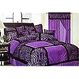 7-Piece Safari Zebra & Giraffe Print Comforter Set Micro Fur Bed In a Bag (Purple, Queen)