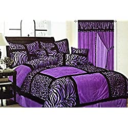 7-Piece Safari Zebra & Giraffe Print Comforter Set Micro Fur Bed In a Bag (Purple, King)