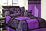 7-Piece Safari Zebra & Giraffe Print Comforter Set Micro Fur Bed In a Bag (Purple, Queen)