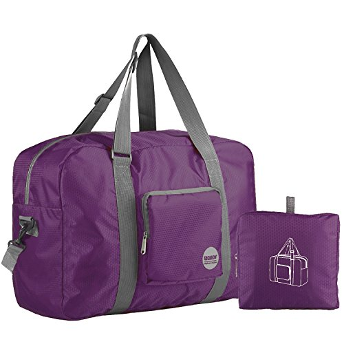 Wandf Foldable Travel Duffel Bag Luggage Sports Gym Water Resistant Nylon (Plum Compact)