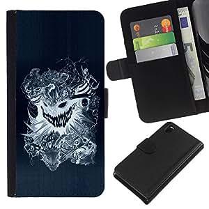 All Phone Most Case / Oferta Especial Cáscara Funda de cuero Monedero Cubierta de proteccion Caso / Wallet Case for Sony Xperia Z3 D6603 // Design Tattoo Dragon Scary Skull Badass