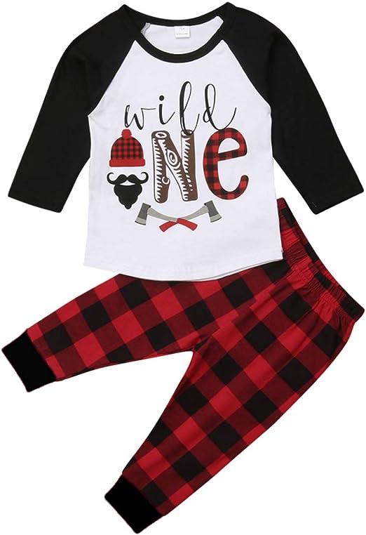 Loalirando 2 Pezzi Completini Bambino Invernale Vestito Natale Bambino Maglia a Manica Lunga Pantaloni