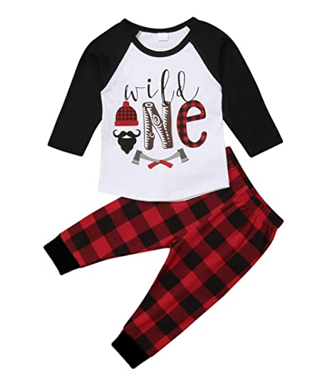 f9fed6a656fe Newborn Baby Boys Girls Clothes Wild One Print Stitching Shirt Top+Red  Black Plaid Long