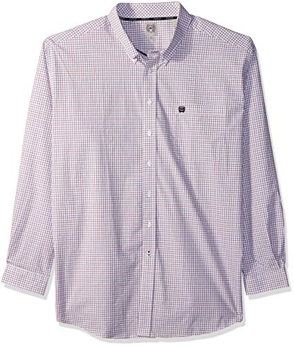 Cinch Men's Classic Fit Long Sleeve Button One Open Pocket Plaid Shirt, White/Brown, S ()