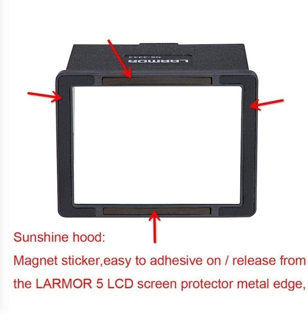 LARMOR GGS 5th Gen 0.3mm Camera Glass Screen Protector Sunshade Hood Compatible with Nikon D4S