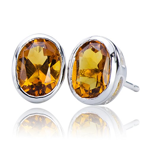 Luxurious Natural Citrine Gemstone 10K White Gold (5.25 cttw) Post Stud Earrings