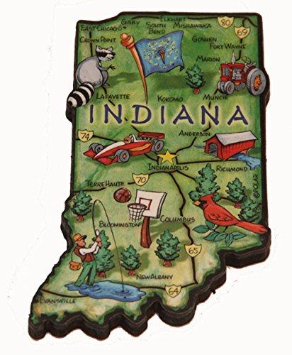 Indiana State Decowood Jumbo Wood Fridge Magnet 4 Souvenir Destiny Indianadecomgnt