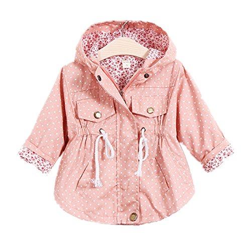 WINZIK Little Baby Girls Kids Outfits Spring Autumn Polka Dot Pattern Hooded Windbreaker Jacket Casual Outerwear Coat (3-4 Years/L, Pink)