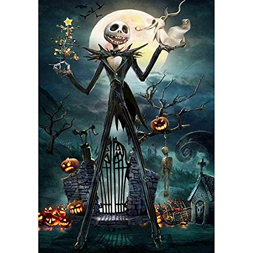 Benbo 5D Full Drill Diamond Painting Kit, Jack Skellington Halloween Skull 15.8x11.8In DIY Diamond Painting by Number Kits Cross Stitch Rhinestone Embroidery Picture Arts Craft for Home Decor -