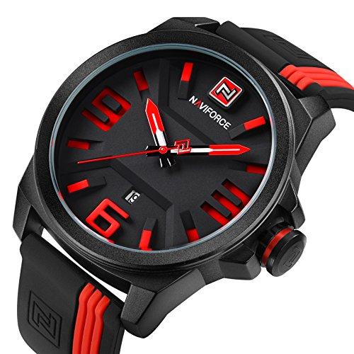 Rubber Strap Calender Quartz Sport Watches for Men