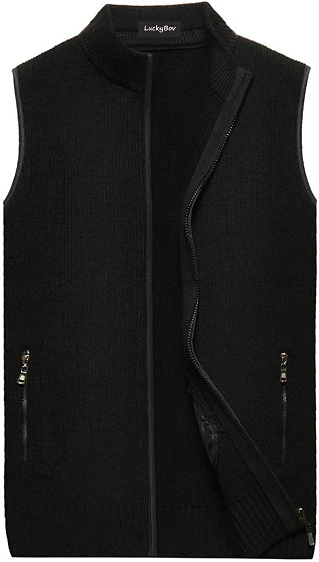 LuckyBov Men Thick Knitted Sweater Vest Sleeveless Zip-up Cardigan Outwear Waistcoat